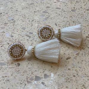 J. crew cream tassel earrings